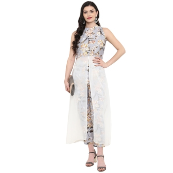 Grey Color Digital Print Flared Polysilk Kurta