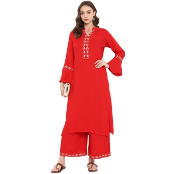 Red Color Foil Print straight Rayon Kurta