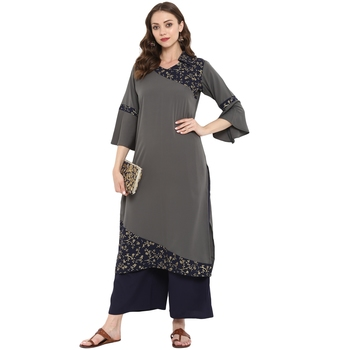 Grey Color Foil Print Straight crepe Kurta Palazzo set