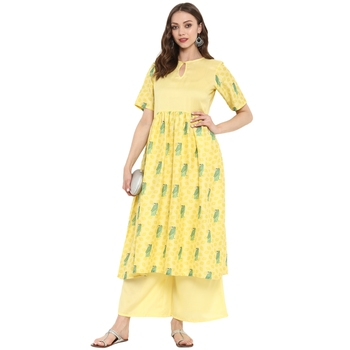 Yellow Color Digital Print Anarkali polySilk Kurta