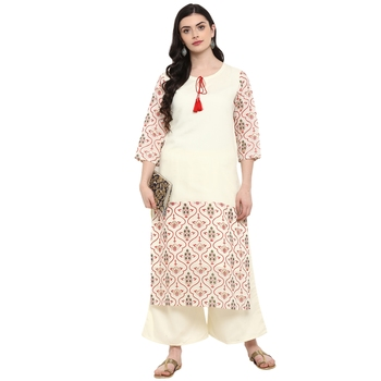 Cr  me Color Foil Print Straight Chanderi Kurta