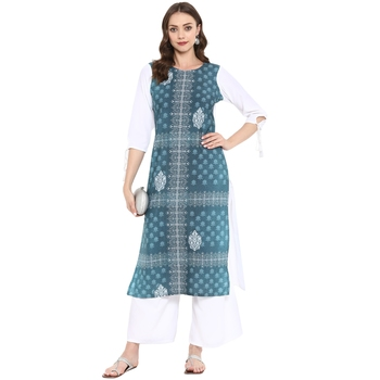 Green Color Digital Print Straight Crepe Kurta