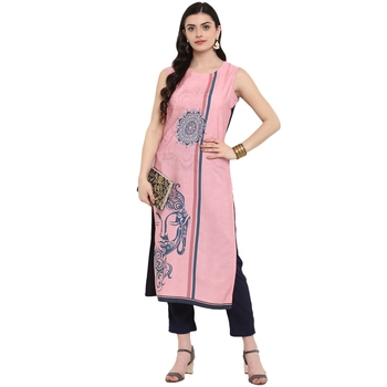 Pink Color Digital Print Straight Crepe Kurta