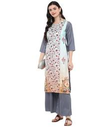 Grey Color Digital Print straight polysilk Kurta