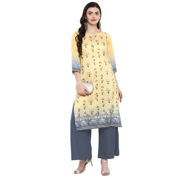 Yellow Color Digital Print straight polysilk kurta