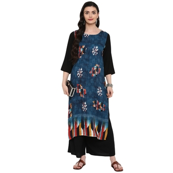 Navy-Blue Color Digital Print straight Rayon kurta
