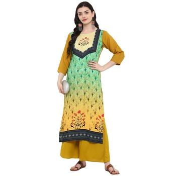 Green Color Digital Print straight Rayon kurta