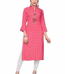 Baby-pink embroidered rayon party wear kurtis
