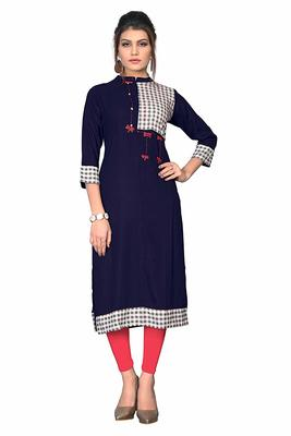 Navy-blue hand woven rayon party wear kurtis