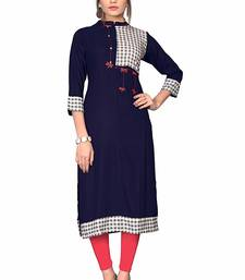 Navy-blue hand woven rayon party wear kurtis