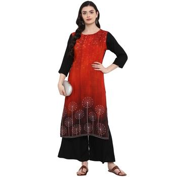 Red Color Digital Print straight Rayon kurta