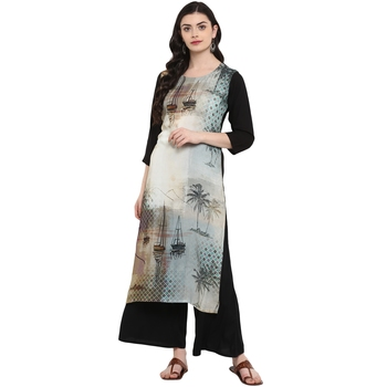 Grey Color Digital Print straight Rayon kurta