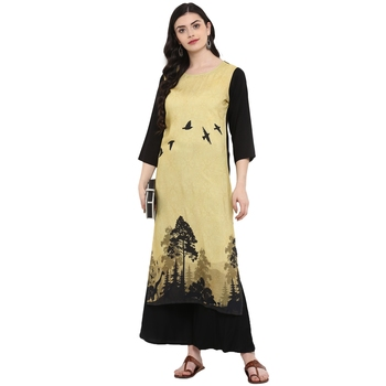 Multi Color Digital Print straight Rayon kurta