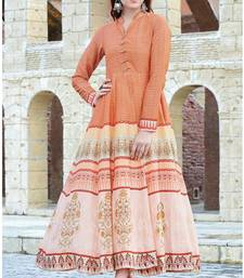 Peach printed cotton cotton kurtis