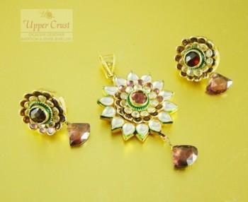 Kundan Rhodolite Pink Pendant Earring Jewellery