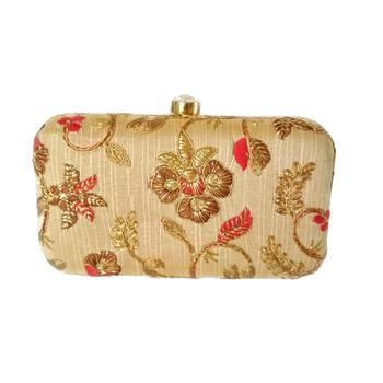 Handicraft Embroidered Party Wear Bridal Casual Box Clutch for Women Beige Single Clutch