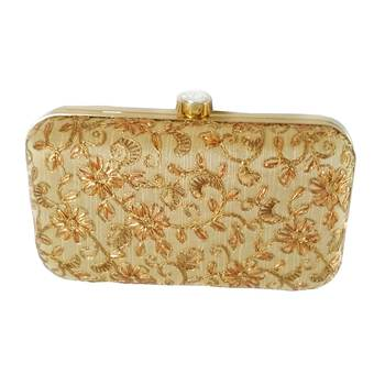 Handicraft Embroidered Party Wear Bridal Casual Box Clutch for Women Golden Single Clutch