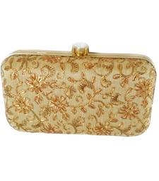 fe76cf7b850 Handicraft Embroidered Party Wear Bridal Casual Box Clutch for Women Golden  Single Clutch