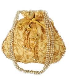 Ethnic Style Designer Partywear Clutch Bag for Women (Golden)