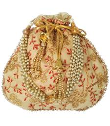 Ethnic Style Designer Partywear Clutch Bag for Women (Beige)