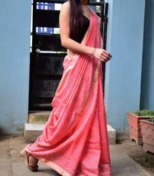 peach Maheshwari Block Print Saree Handloom