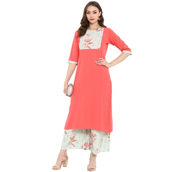 Peach Color Digital Print Straight crepe Kurta
