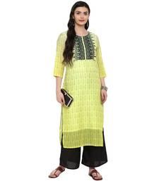 Yellow Color Digital Print Straight Chanderi Kurta