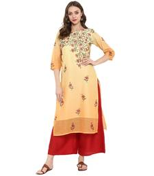 Orange Color Digital Print Straight Chanderi Kurta