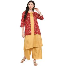 Gold Color Digital Print Straight polySilk Kurta
