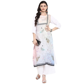 Cream Color Digital Print straight Rayon Kurta Palazzo Set