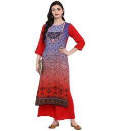 Purple Color Digital Print straight Rayon Kurta Palazzo Set