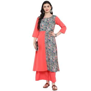 Peach Color Digital Print Flared crepe Kurta Palazzo set