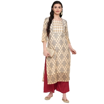 Multi Color Digital Print Straight Chanderi Kurta Palazzo set