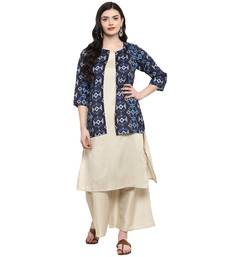 Beige Color Digital Print Straight polySilk Kurta Palazzo set