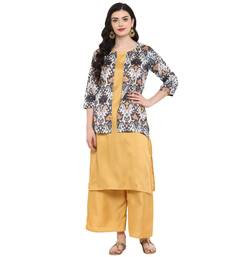 Gold Color Digital Print Straight polySilk Kurta Palazzo set