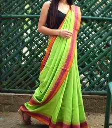 Maheshwari Block Print Saree Handloom - Green