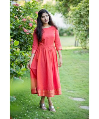 Peach Cotton Fit and Flare Dress