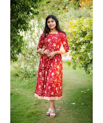 Red Cotton Fit and Flare Dress