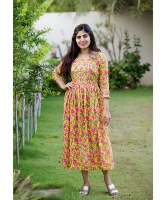 Yellow Cotton Fit and Flare Dress