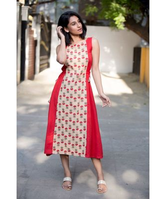 Red Cotton Aline Dress