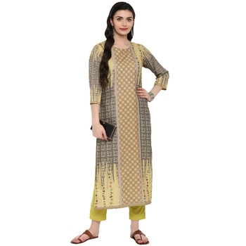 Yellow Color Digital Print Straight Crepe Kurta Pant Set