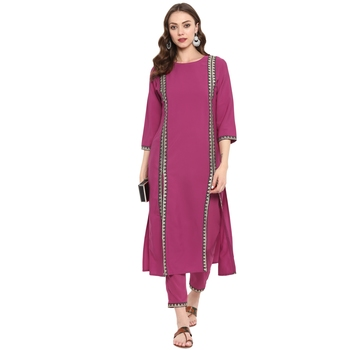 Pink Color Dyed Straight crepe Kurta Pant Set