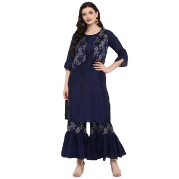 Blue Color Foil Print Straight Polysilk Kurta Sharara Set