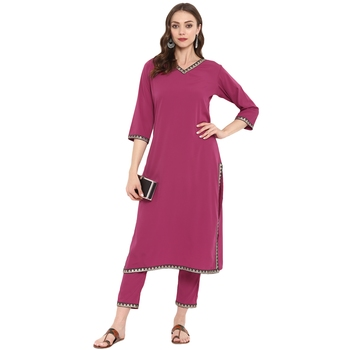 Pink Color Dyed Straight crepe Kurta