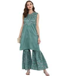 Green Color Foil Print Straight Polysilk Kurta Sharara Set