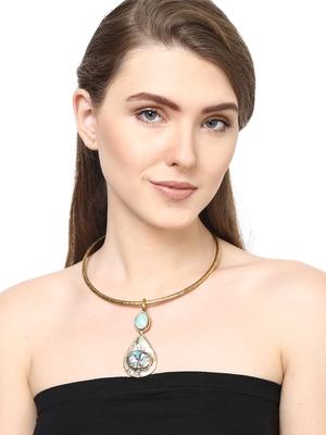 ZeroKaata Pearl Drop Brass Choker Fashion Necklace