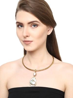ZeroKaata Pristine Pearl Brass Choker Fashion Necklace