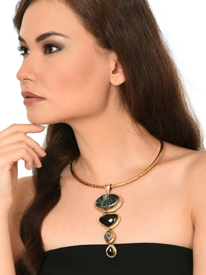 ZeroKaata Seraphinite Black Clasping Choker Fashion Necklace