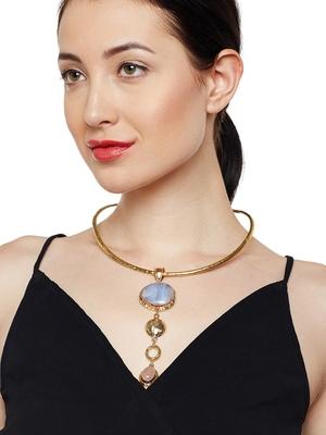 ZeroKaata Gorgeous Glimpse Blue Lace Agate and Rose Quartz Fashion Trendy Choker Fashion Necklace