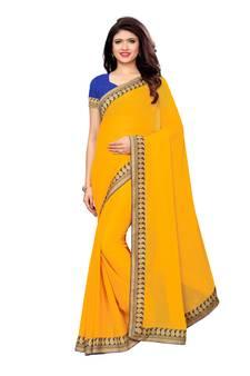 2851aa89e Yellow woven chiffon saree with blouse